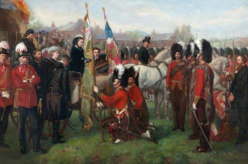 Présentation des nouvelles couleurs du 79e Cameron Highlanders par la reine Victoria - 1873