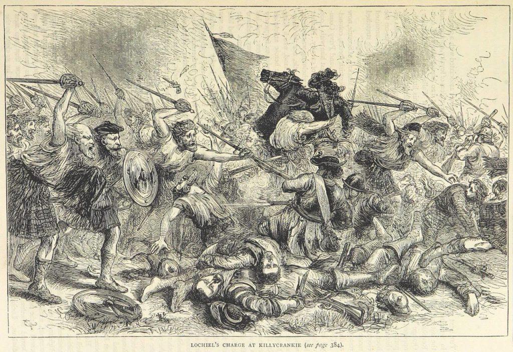 La charge décisive des Cameron lors de la bataille de Killycrankie, en 1715
