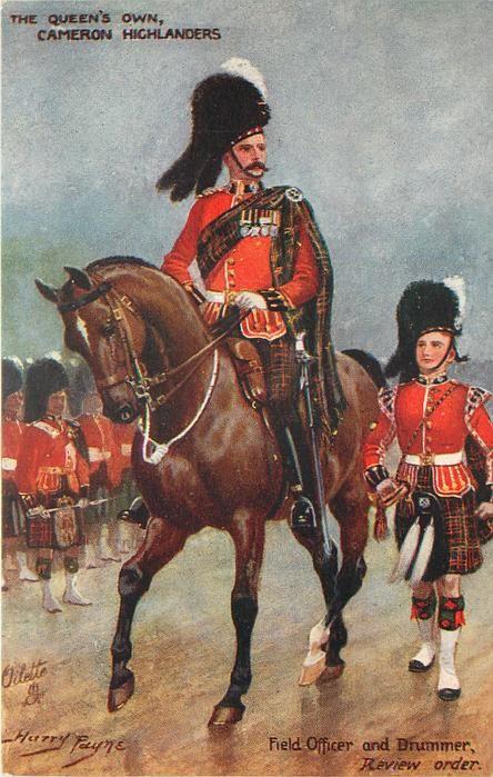Officier et tambour des Queen's Own Cameron Highlanders, vers 1911